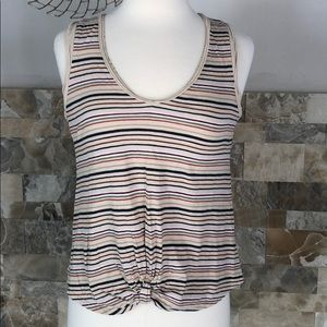 Bordeaux striped, sleeveless, v neck t shirt